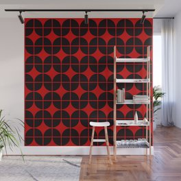 Optical Illusion Pattern Neon Red on Black Wall Mural