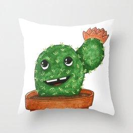 Smiling Teddy Bear Cactus Comic Throw Pillow
