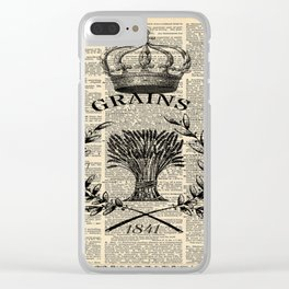 librarian book dictionary print vintage crown french farmhouse wheat bouquet Clear iPhone Case