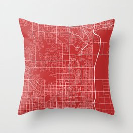 Scottsdale Map, USA - Red Throw Pillow