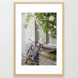 Bicycle with White Roses, Bruges Framed Art Print