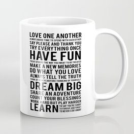 "Inspirational Quote ""Family Rules"" Subway Stlye Family Typography Nursery Print Motivational Quote Coffee Mug"