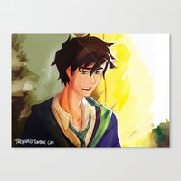 percy jackson Canvas Prints featuring Percy Jackson in Hogwarts by TreyCain03