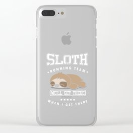 Sloth Running Team Funny Sleepy Sloths Wildlife Animals Forest Nature Zoo Wilderness Animalia Gift Clear iPhone Case