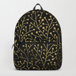 Gold Berry Branches on Black Backpack