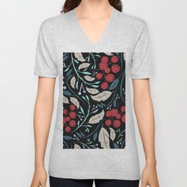 Holiday Holly and Mistletoe Pattern Unisex V-Neck