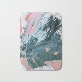 Wilmington: a colorful abstract acrylic piece in pinks and blues Bath Mat