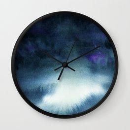 Starry Night | Navy Blue Watercolor and Gold Glitter Wall Clock