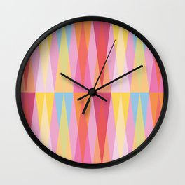 Party Argyle on Pink Wall Clock