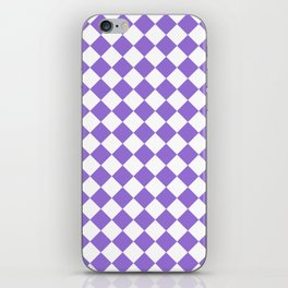 Diamonds - White and Dark Pastel Purple iPhone Skin