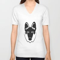 german shepherd V-neck T-shirts featuring German Shepherd by anabelledubois