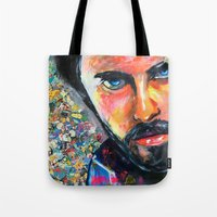 jared leto Tote Bags featuring Jared Leto by Ilya Konyukhov
