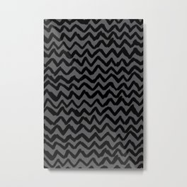 The ultimate black and grey chevron rug Metal Print