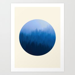 Layers of Colorful Blue Trees Round Photo Art Print