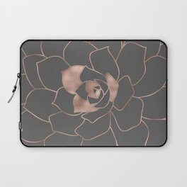 Rosegold  blossom on grey - Pink metal - effect flower Laptop Sleeve