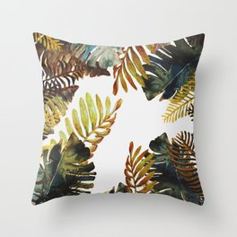 tropical old leaves Throw Pillow