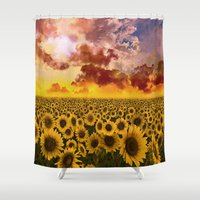 sunflowers Shower Curtains featuring sunflowers by Bekim ART