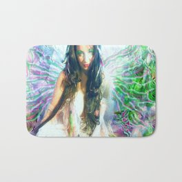 HOT SEXY FAIRY WITH PINK  WINGS NUDE BIG BREAST LADYKASHMIR ART  Bath Mat