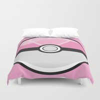 pokeball Duvet Covers featuring Love Pokeball by Pi Design Prints