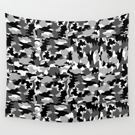 black and white Background Pattern Camo Wall Tapestry