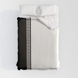 Greek Key 2 - White and Black Duvet Cover
