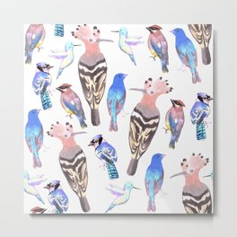 Birds watercolor in tetrad color scheme Metal Print