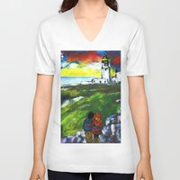 lighthouse V-neck T-shirts featuring lighthouse by Nastya Bo