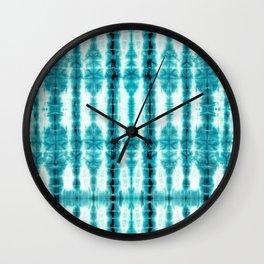 Turquoise Tiki Shibori Wall Clock