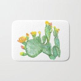 Prickly Pear Cactus Watercolor Bath Mat