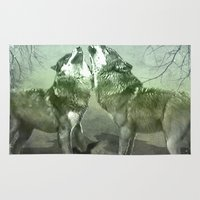 wolves Area & Throw Rugs featuring Wolves by YM_Art by Yv✿n / aka Yanieck Mariani