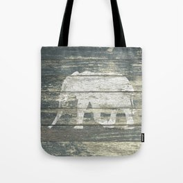White Elephant Silhouette on Teal Wood A215C Tote Bag