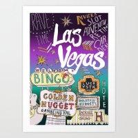 las vegas Art Prints featuring Las Vegas by Lera Sxemka