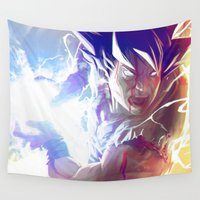 goku Wall Tapestries featuring Goku by MATT DEMINO