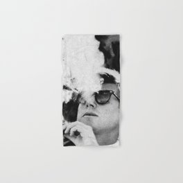 John F Kennedy Cigar and Sunglasses Black And White Hand & Bath Towel