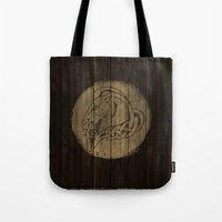 skyrim Tote Bags featuring Shield's of Skyrim - Whiterun by VineDesign