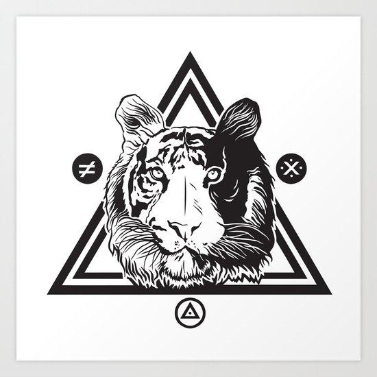 Tiger & symbols Art Print