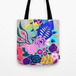 Linen Bouquet Tote Bag