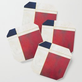 Blue, Red And White With Golden Lines Abstract Painting Coaster