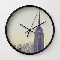 nyc Wall Clocks featuring NYC by Chernobylbob