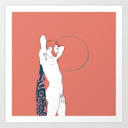 Nude male holding a patterned cloth on a muted orange background Art Print