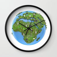 data Wall Clocks featuring Data Earth by GrandeDuc