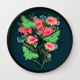 Luna Moth Florals by Andrea Lauren  Wall Clock