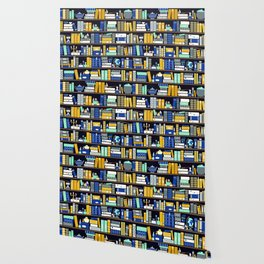 Book Case Pattern - Blue Yellow Wallpaper