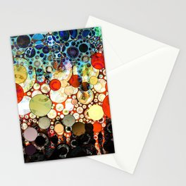 Contemporary Blue Orange Bubble Abstract Stationery Cards