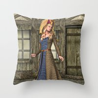 medieval Throw Pillows featuring Medieval Lady by Design Windmill