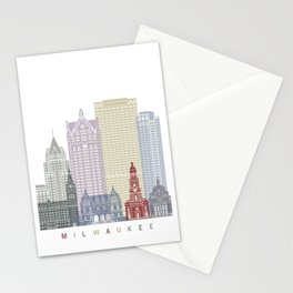 Milwaukee skyline poster Stationery Cards