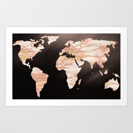 Earth Map Rose Gold Glitter Marble Space Art Print