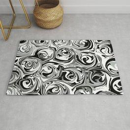Onyx Black and White Paint Swirls Rug