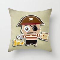 pirate Throw Pillows featuring PIRATE by AnishaCreations