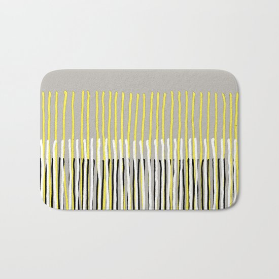 Yellow Rising - abstract stripes in yellow, grey, black & white Bath Mat